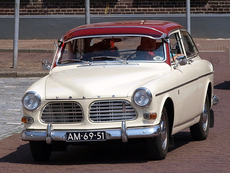 White and red old Volvo
