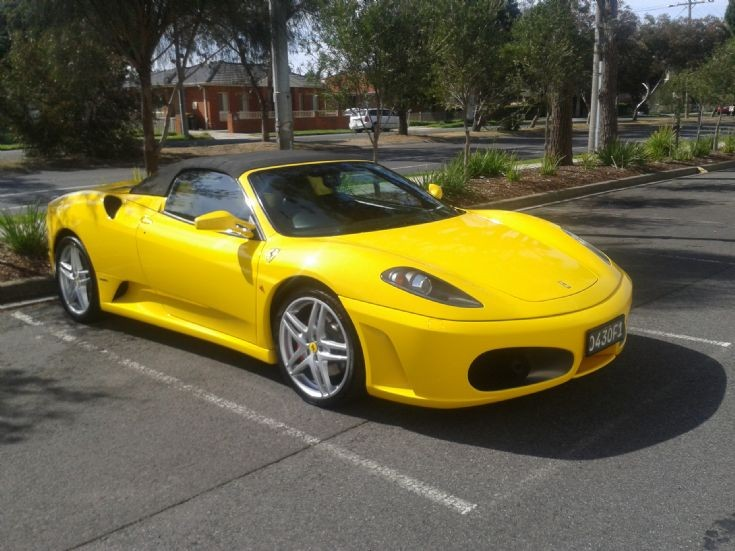 Yellow Ferrari F430 Spider.