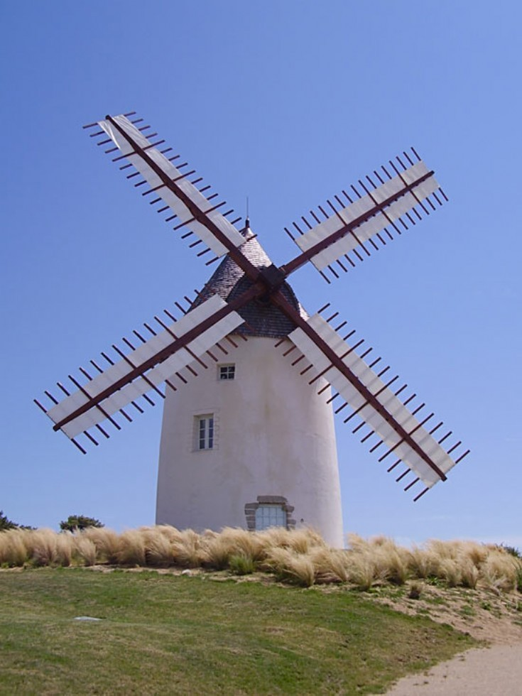 Windmill in the town of Jard-sur-Mer, France