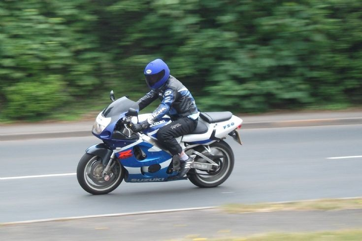Suzuki 750 at speed