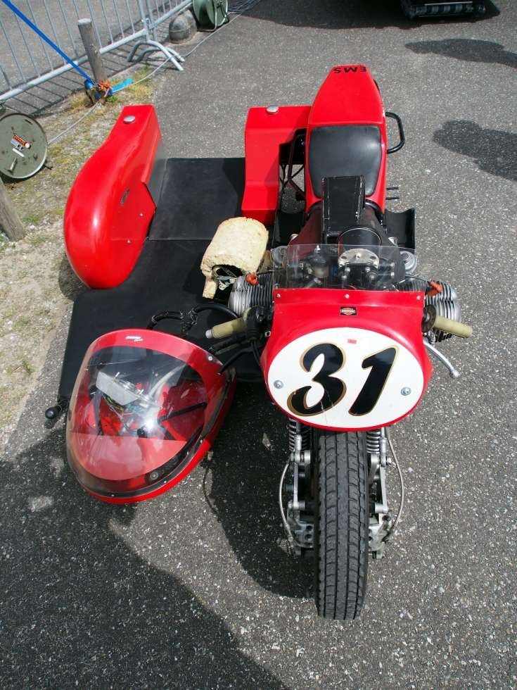 Good look at a side car racing motorbike