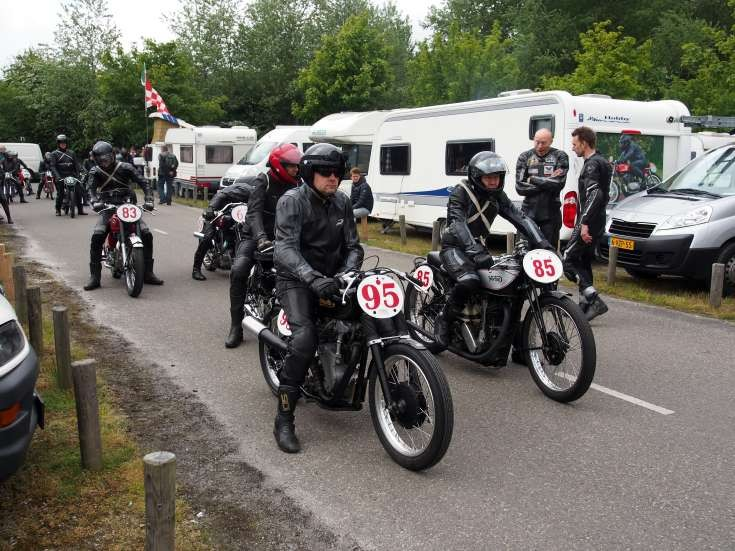 Preparation for the race, Velocette No95 & Norton No85