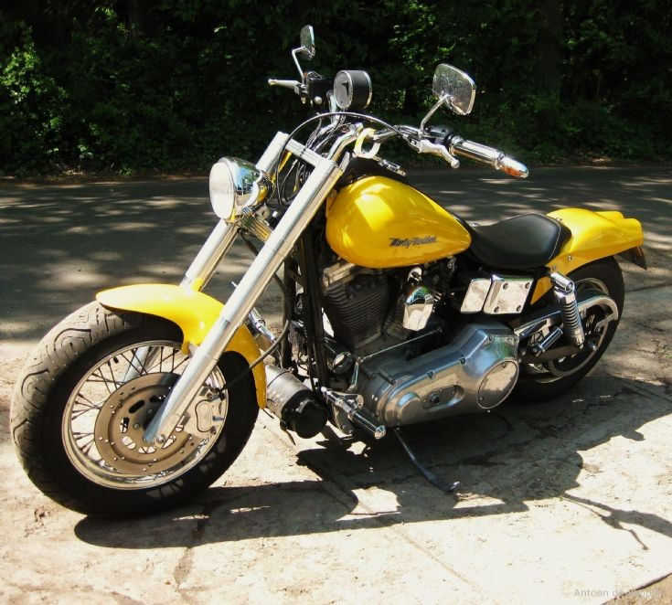 Yellow Harley Davidson.