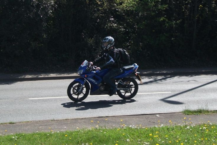Blue Honda in Dawlish