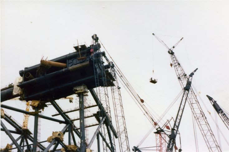 Jacket, scaffold and crane booms at Nigg