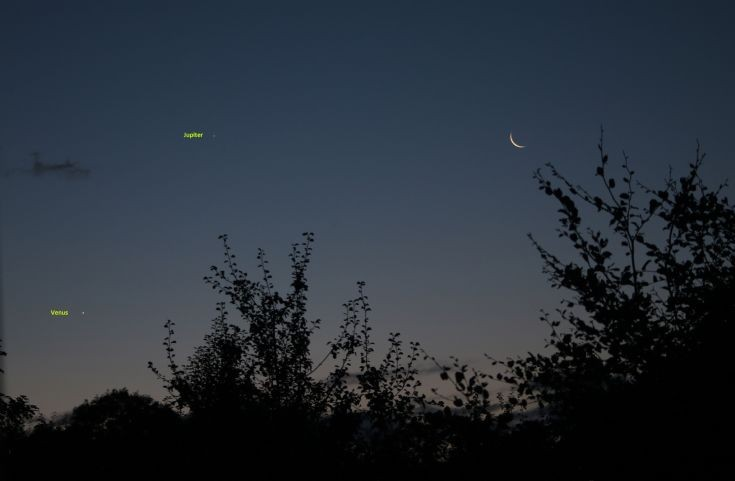 Moon,Venus Jupiter conjunction