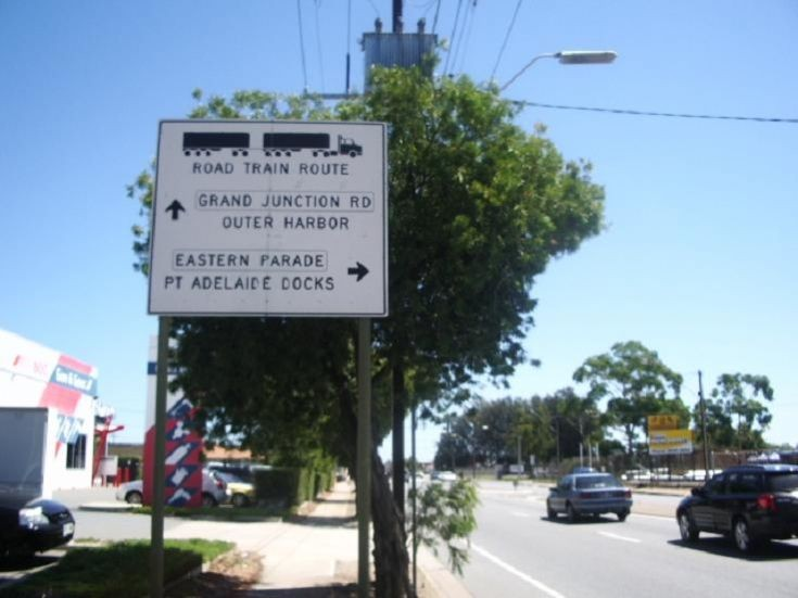 Port Adelaide Road Train Route Sign