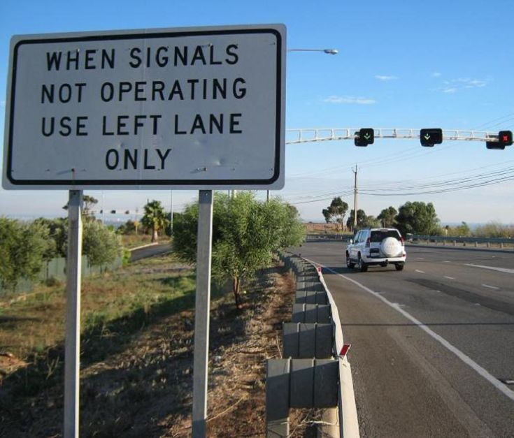 When Signals Not Operating Use Left Lane