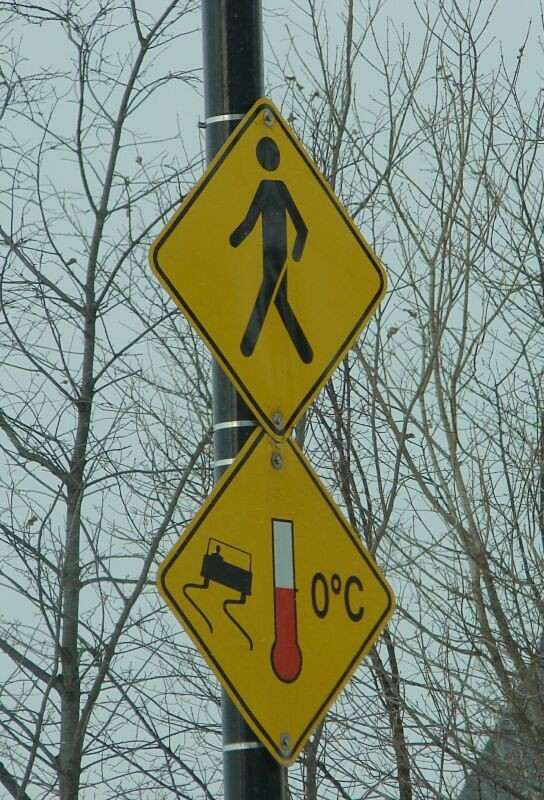 Pedestrian and slippery sign
