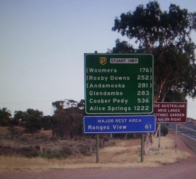 Road Sign at Port Augusta  in South Australia.
