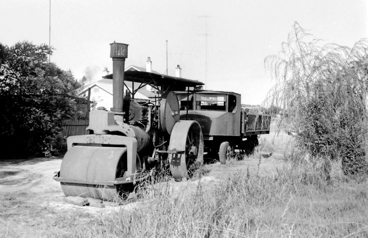 Steam roller and lorry